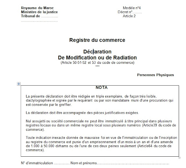 Tous Les modèles de registre de commerce 1 - 2 - 3 - 4 - 4.1 - 7 - 9 - 13 - 14 Mrc4