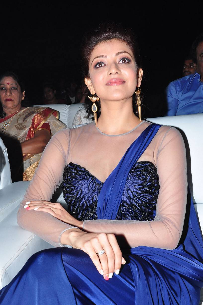 Kajal Agarwal Gorgeous Stills In Blue Saree