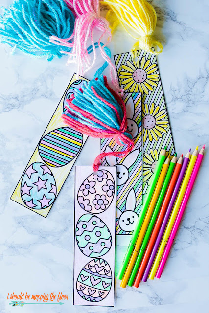 free printable easter coloring bookmarks