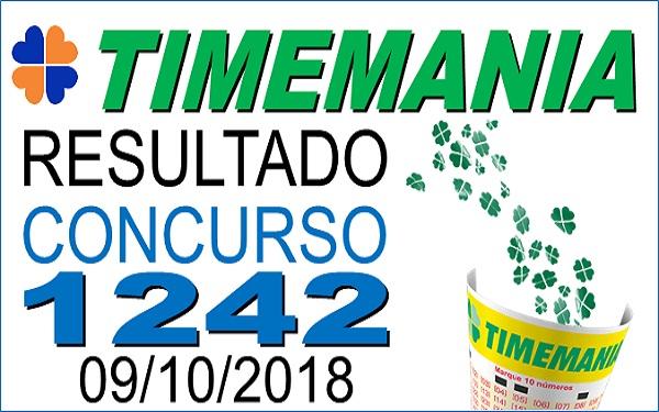 Resultado da Timemania concurso 1242 de 09/10/2018 (Imagem: Informe Notícias)