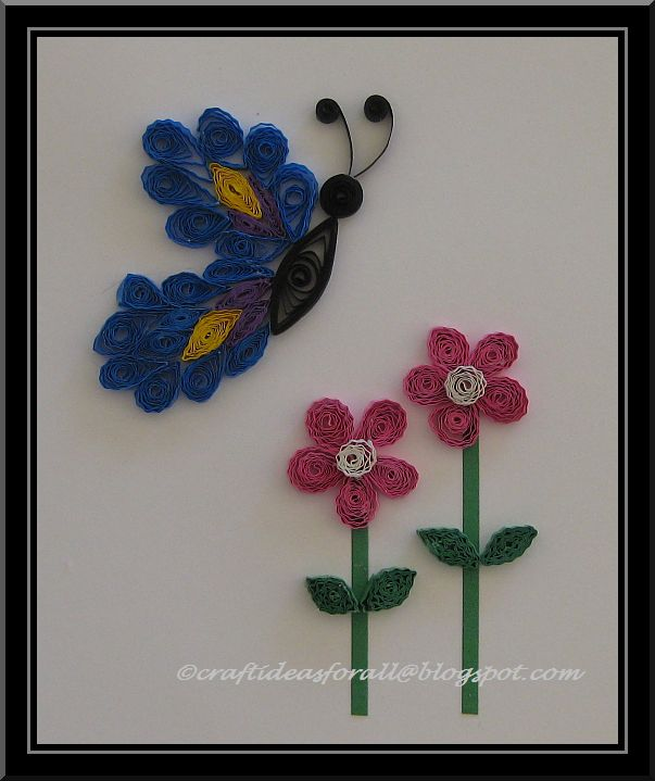 Craft ideas for all paper quilled butterfly and flowers for Quilling paper craft ideas