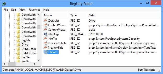 Drive Space Indicator Registry Edit