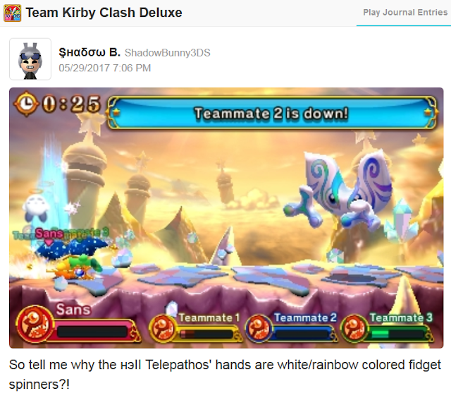Team Kirby Clash Deluxe Telepathos hands white rainbow colored fidget spinners Miiverse