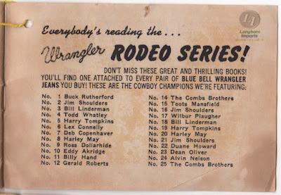 1958年発行 Wrangler 販促品小冊子の最後のページ Wrangler Rodeo Series!のタイトルで、各号で登場するロデオチャンピオンの名前が並ぶ