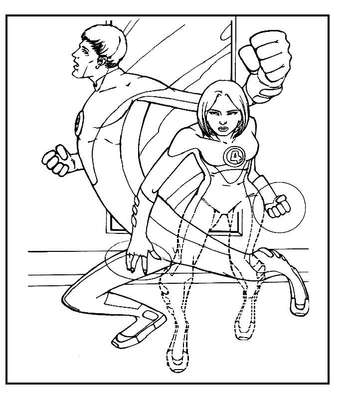 coloring pages fantastic four | Fantastic Four ( 4 ) Cartoon Kids Coloring Part 2