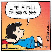 "(image of Lucy saying, ""Life is full of surprises."")"