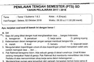 Soal Ulangan PTS Kelas 4 Tema 1 Subtema 1 & 2