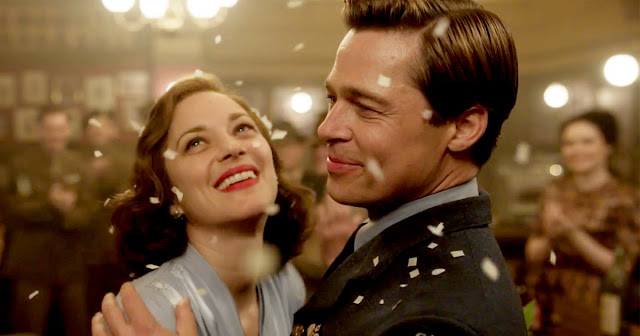 Brad Pitt and Marion Cotillard in Allied, party, dance, ball