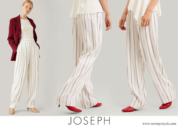 Queen Rania wore JOSEPH Lin Rayon Stripe Trousers Ruby