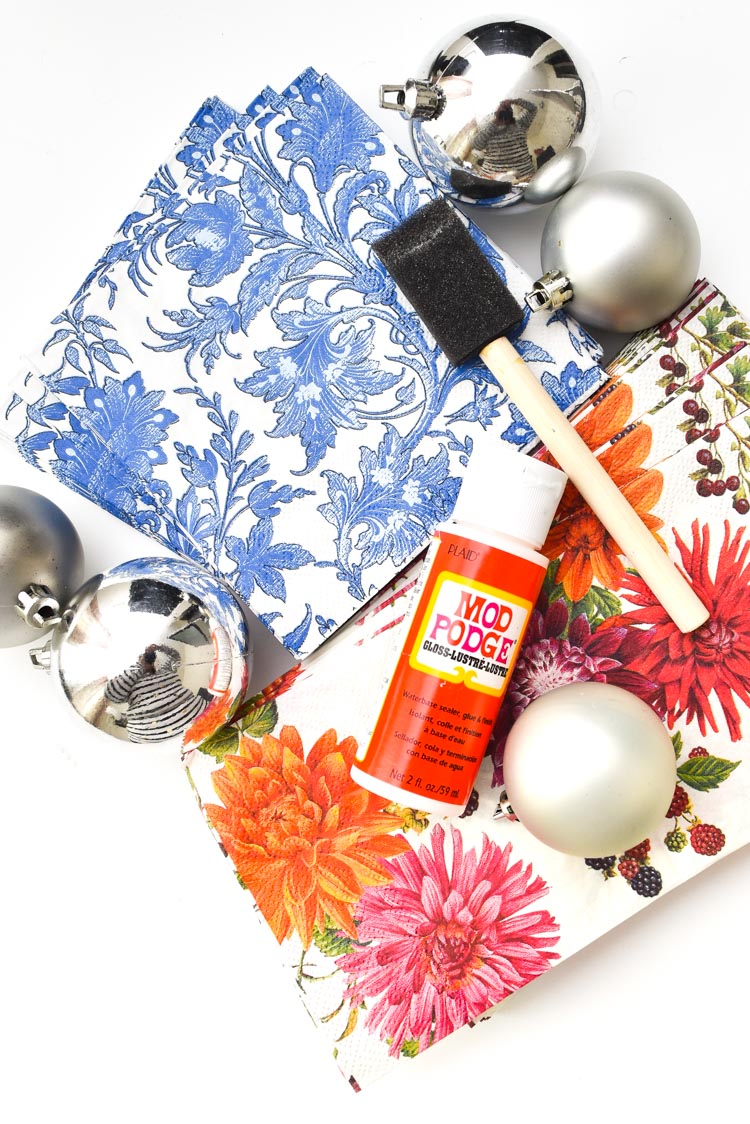Dollar store supplies for DIY holiday ornaments and decor