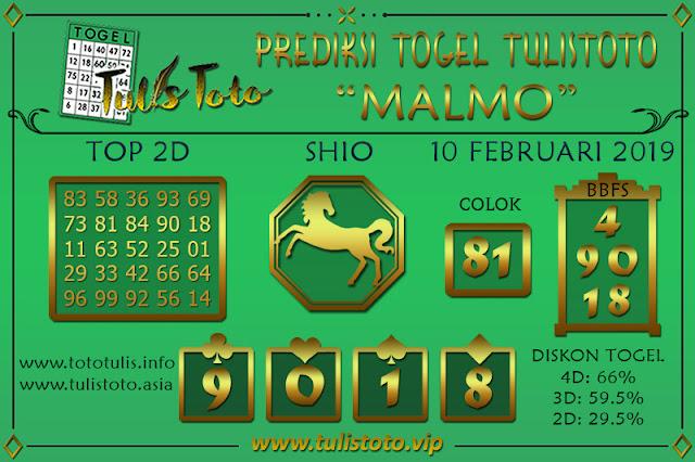 Prediksi Togel MALMO TULISTOTO 10 FEBRUARI 2019
