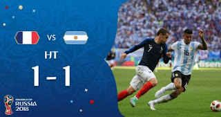 HT: Prancis vs Argentina Imbang 1-1