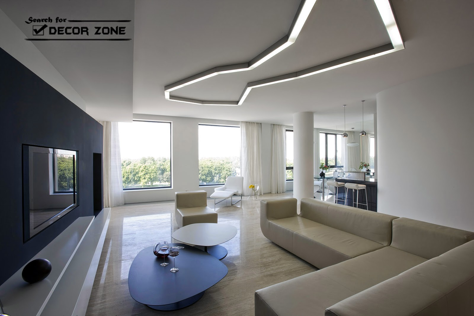 Contemporary living room furniture sets designs and ideas - Modern living room ceiling lights ...