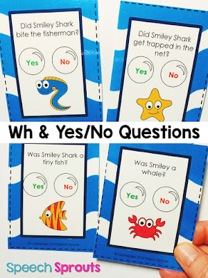 Yes-No and WH question comprehension cards. Read about this Smiley Shark Book Companion plus 14 terrific ideas for shark week in preschool speech therapy www.speechsproutstherapy.com