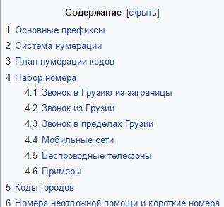 Телефонные коды Грузии