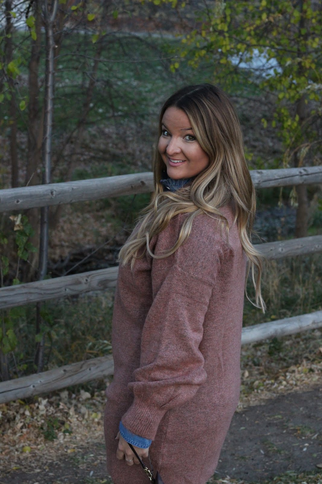 Pink Sweater Dress and Chambray by Denver fashion blogger Delayna Denaye