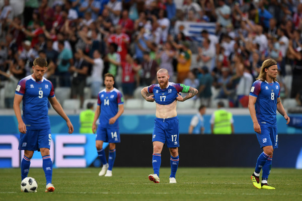 Aron Gunnarsson of Iceland look dejected folloiwing Nigeria's second goal the 2018 FIFA World Cup Russia group D match between Nigeria and Iceland at Volgograd Arena on June 22, 2018 in Volgograd, Russia.
