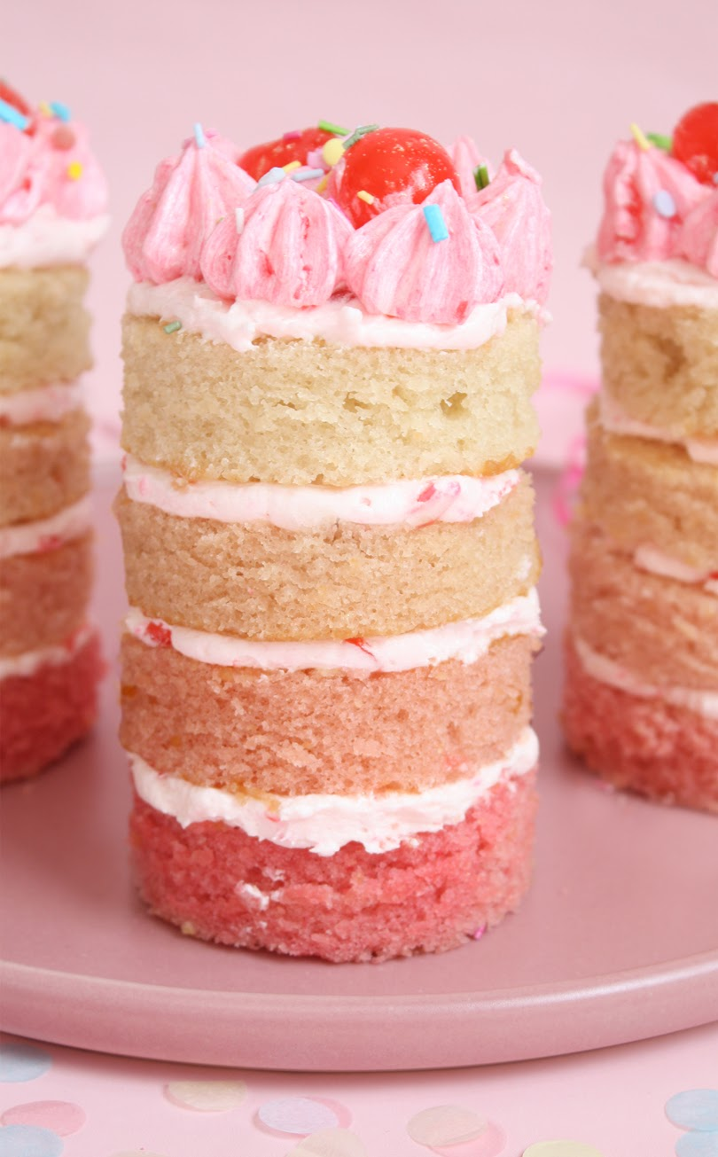vegan mini cherry ombre birthday cakes