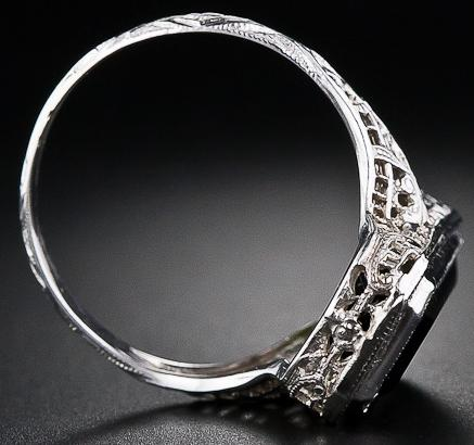 Tourmaline filigree ring, 1930's. Via Diamonds in the Library.