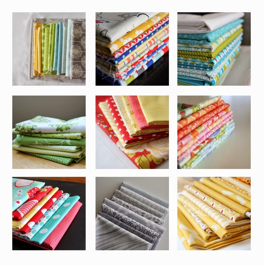 Lovely stacks of fabric found at A Bright Corner