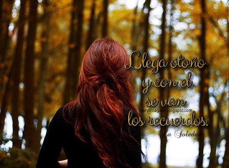 Tristemente caen las hojas de otoño, y tras el cristal de mi ventana veo la tarde gris que cede el paso a la noche que nuevamente invade mi vida triste y sombría desde el día que perdí el amor de mi vida.  Las gotas de lluvia caen lentamente en mi piel, y se confunden con mis lágrimas que derraman mis ojos por el amor que hoy no está a mi lado, la melancolía envuelve mi alma y la soledad nuevamente hace presa de mí. El corazón quiere gritarle al viento que te ama, pero le digo que no puede amarte, que eres un ser efímero que ya no volverá, que te has ido lejos y jamás regresarás, como lejos se van los recuerdos que duelen en el alma. La luna con sus reflejos de plata tratan de iluminar mi alma en la penumbra, esa penumbra que invade mi vida desde que tu no estás, ay corazón como te extraño, cuanta falta me haces, pero esta es la realidad, tu ya nunca más volverás. Tarde gris de otoño, en donde recuerdo tristemente el día de tu partida, solo me queda el dolor, el vacío y el desamor que has dejado después de tu triste huida.