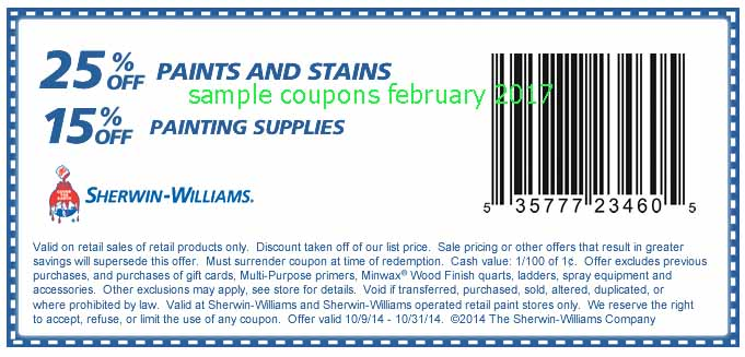 About Sherwin-Williams. Sherwin-Williams has you covered—literally. Cover cars, bridges, houses, boats, and more with a fresh coat of paint for less with Sherwin-Williams coupons.
