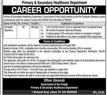 Primary  & Secondary Healthcare Department jobs in Lahore 2020