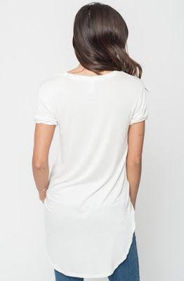 Buy Now White  Round Neck Tunic Tees Online $16 -@caralase.com