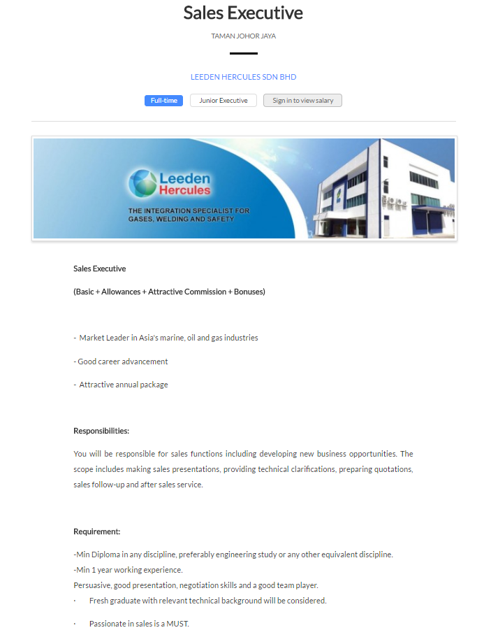 Oil &Gas Vacancies: Sales Executive -LEEDEN HERCULES- JOHOR