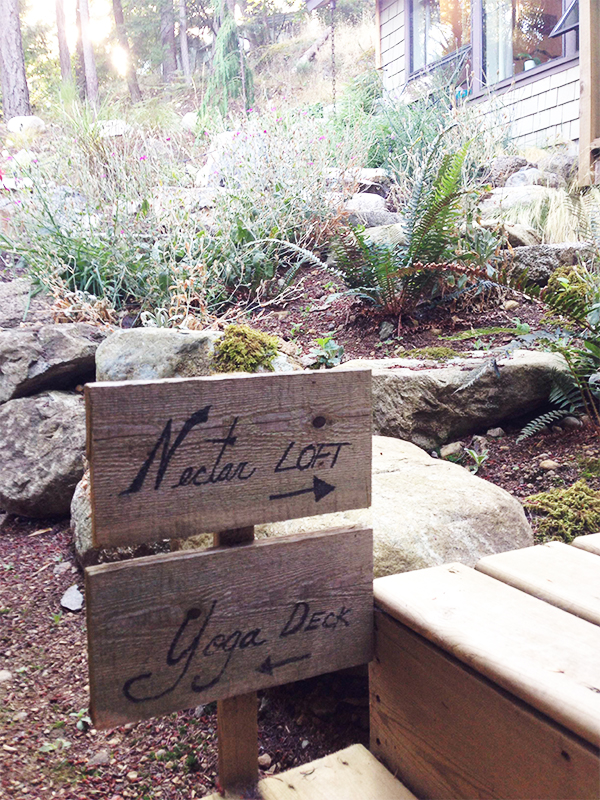 Signs pointing out Nectar Loft and Yoga Deck at Nectar Yoga Bed and Breakfast in Bowen Island, Horseshoe Bay, Vancouver.