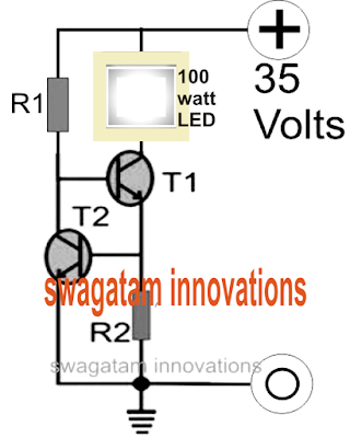 transistorized current controller circuit for LEDs