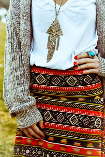 Aztec print skirt and cozy layers.