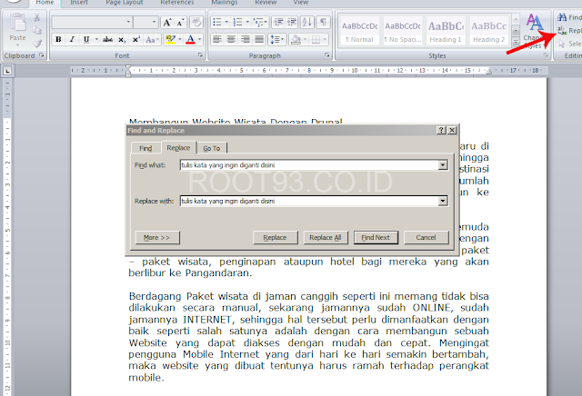 menampilkan kotak dialog find and replace