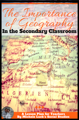 Teaching middle and high school Social Studies requires the application of lessons or activities to integrate Geography. Do your students learn as much Geography as they need to be successful? I love the Dollar Tree tip! #geography #lessons #teaching