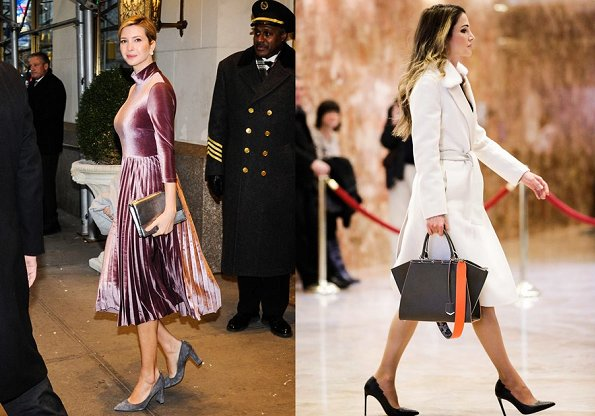 Queen Rania and Ivanka Trump wore satin velvet dress, Rania wore coat, Fendi bags, clutch bag