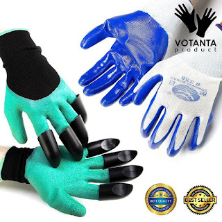 Premium Garden Claw Gloves by Votanta Quick Easy to Dig and Plant Safe Hand and Fingers (Claws on EACH Hand) - Patio, Lawn & Garden - GIFT: 1 FREE PAIR OF GRIPPING GLOVES  INCLUDED