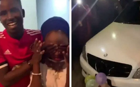 100L Student Shocks Nigerians As He Presents Girlfriend An SUV Benz, iPhone X Max For Her 16th Birthday [Video]