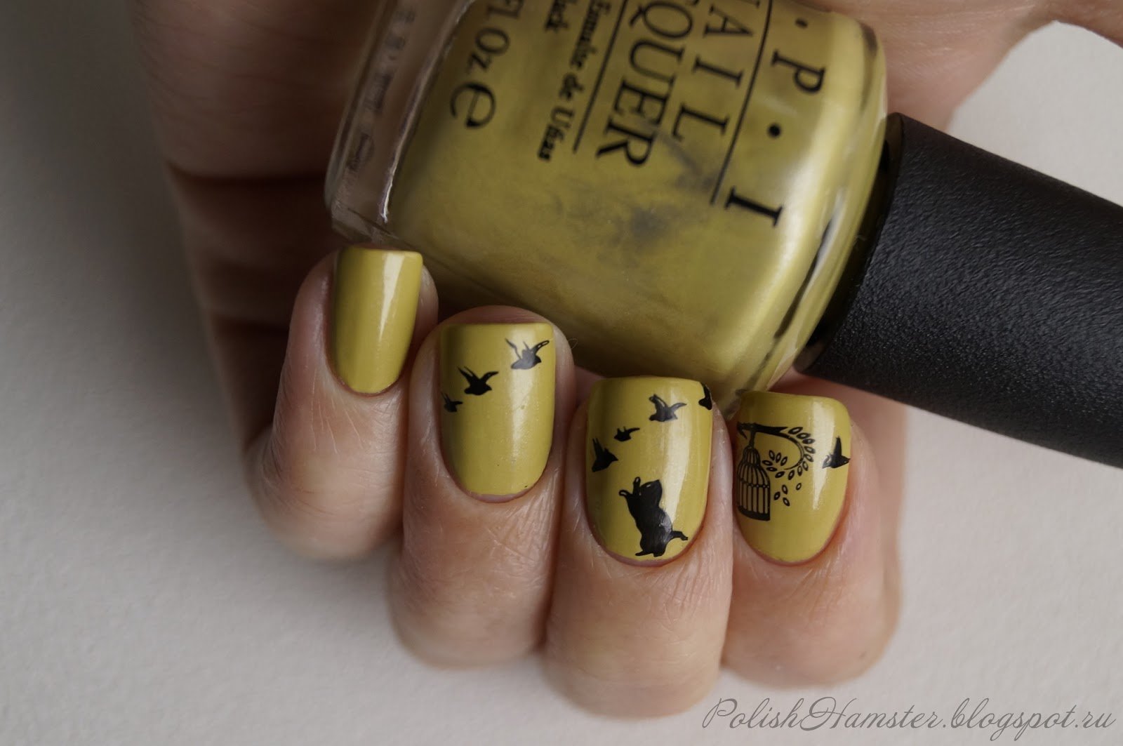 OPI Don't talk Bach to me + стемпинг MoYou London Kitty Plate Collection 11