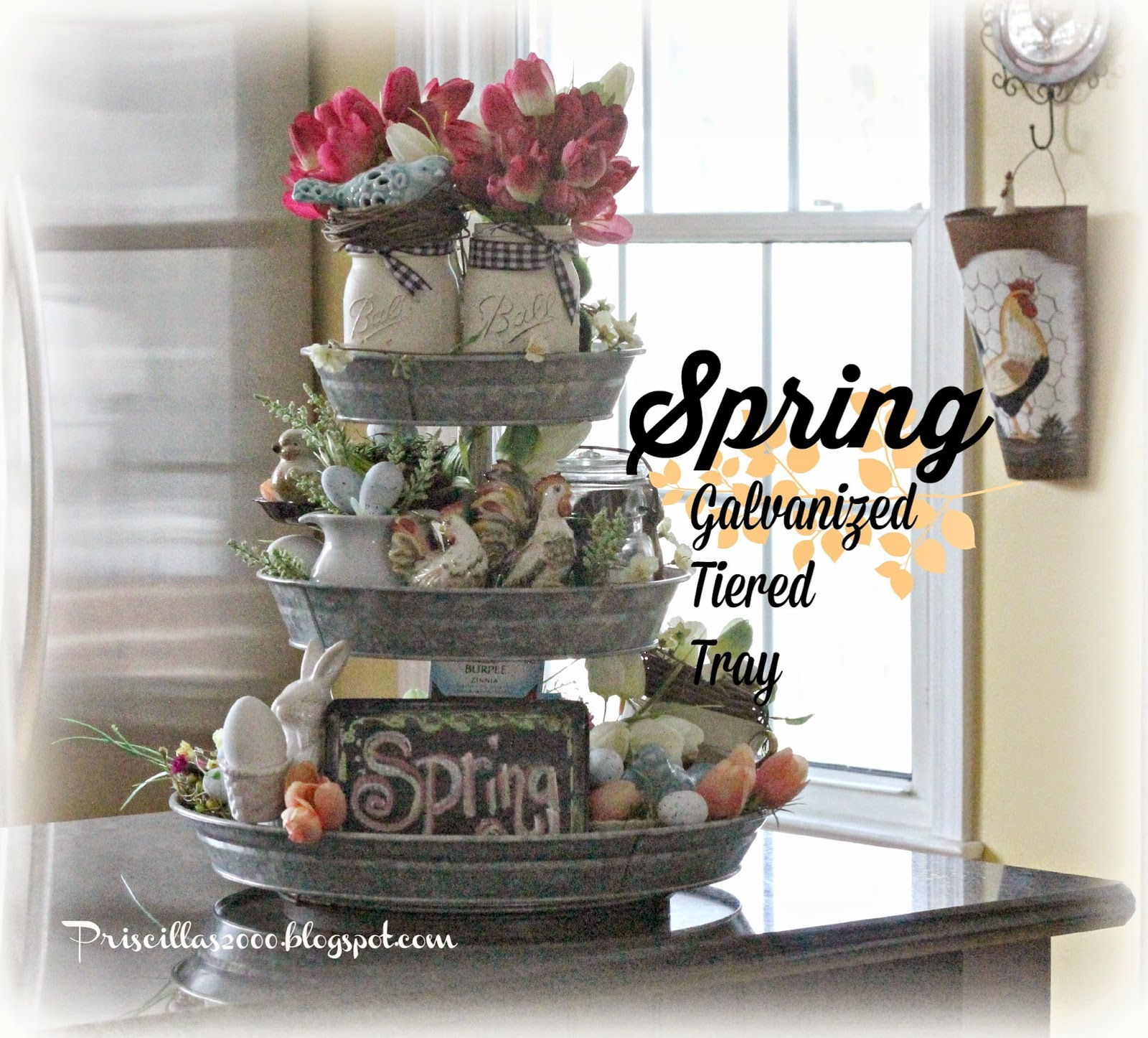 18 Spring Decor Ideas: Priscillas: A Year Of The Galvanized Tiered Tray