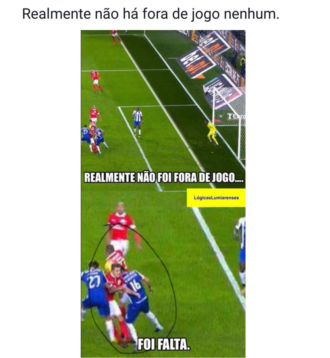 Importa ainda falar do alegado golo que o Sergio Conceição disse que foi  invalidado por fora de jogo. MENTIRA  8e867c64a36bb