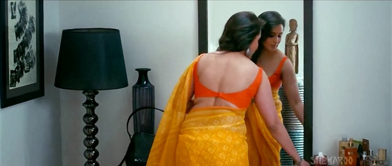 Bollywood Actresses Wearing Sarees With Backless Blouses -6317