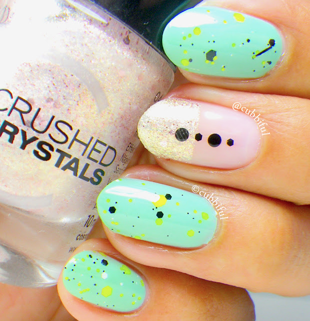 Negative Space Summer Glitter Nails