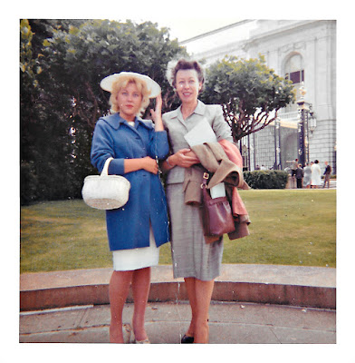 Natalie F. Vasilev and her daughter, Lena, in front of the Civic Center in San Francisco in 1960.