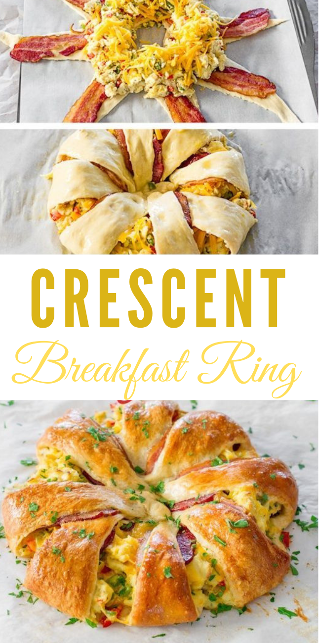 CRESCENT BACON BREAKFAST RING #bacon #eat