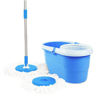 Deals on Blue 360° Spin Mop Rotating Pole & Bucket