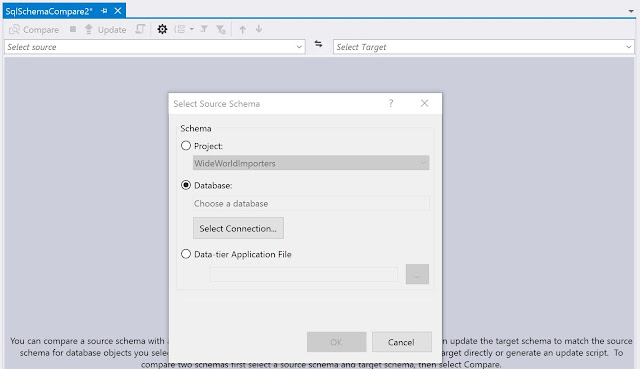 Select source schema dialog  in Visual Studio 2017