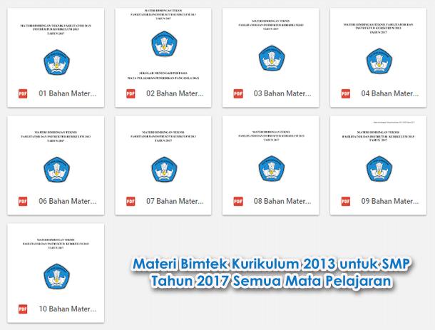 Materi Bimtek Kurikulum 2013 untuk SMP Tahun 2017 Semua Mata Pelajaran