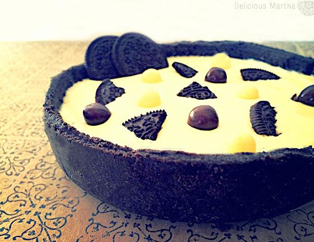 Tarta de chocolate blanco y mascarpone con base de Oreo