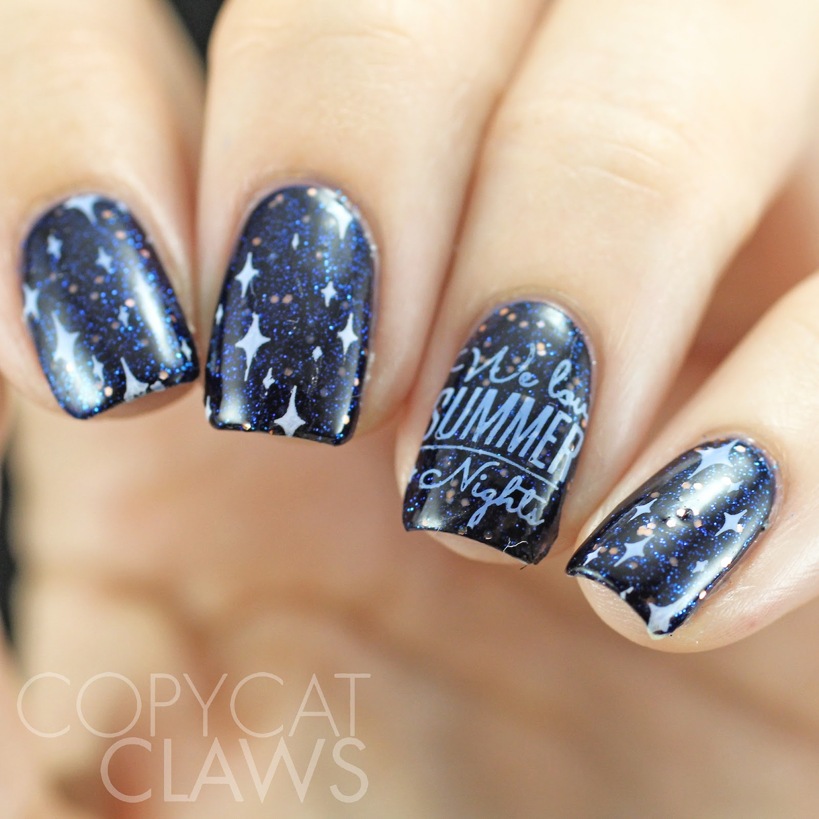 Copycat Claws Blue Color Block Nail Art: Copycat Claws: HPB Presents Summer Night Sky Nail Art