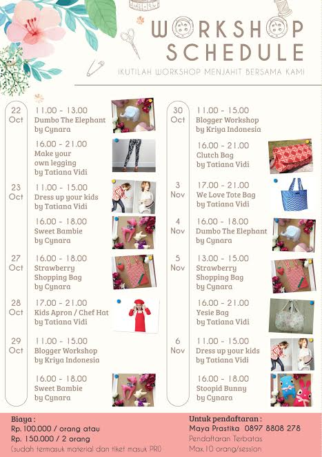Workshop Schedule Sewing is fun (Brother Indonesia)